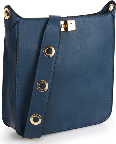 38096ded2d24 L S Fashion Kabelka Anna Grace Navy Twist Lock Cross Body Bag AG00566 NAVY