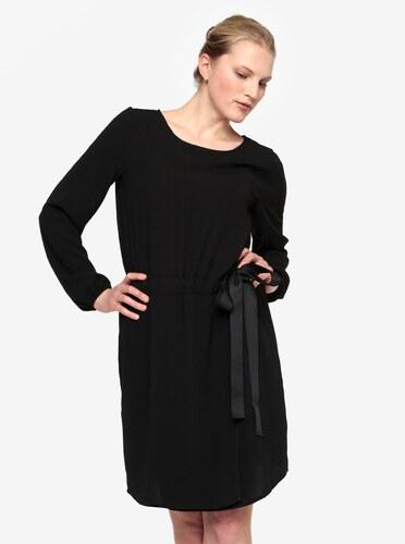 5d2cee4712c Černé šaty s dlouhým rukávem a stahováním v pase VILA Sarina - Glami.cz