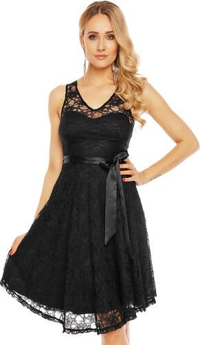 5c9edbe67ec MAYAADI Dámské krajkové šaty na ramínka s páskem středně dlouhé černé