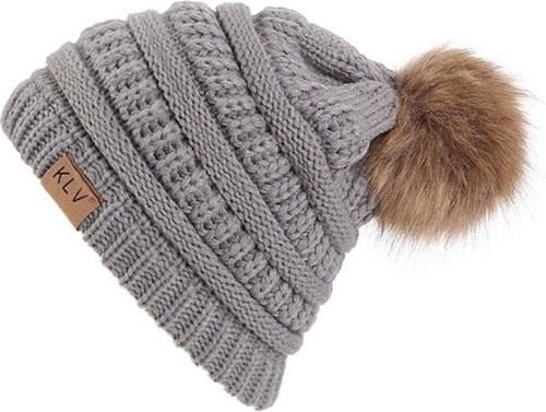 6a3a7904a V&V KLV Zimná čiapka s brmbolcom (šedá farba) - Glami.sk