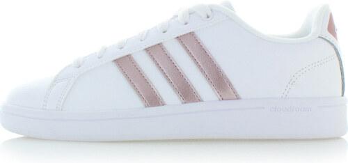 adidas CORE Dámske bielo-ružové tenisky Cloudfoam Advantage Clean ... 5c386655f9f