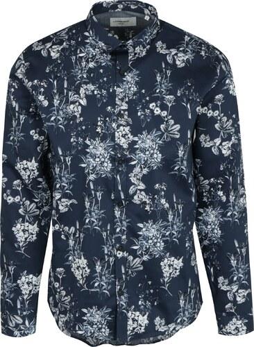 Tmavě modrá květovaná košile Lindbergh - Glami.cz 63cd4673ad