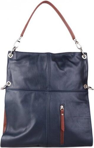 2215026a24 ITALSKÉ Praktická Italská kožená kabelka přes rameno Fulvia modrohnědá