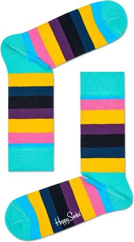 -20% Barevné (tyrkysové) pruhované ponožky Happy Socks dbebb077ff