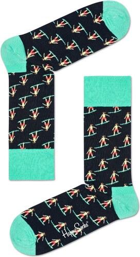 0a51c60862d Dámské Černé ponožky Happy Socks s barevnými surfaři