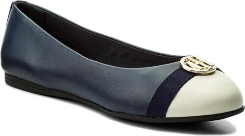 Baleríny TOMMY HILFIGER - Ballerina With Hardware FW0FW02813 Tommy Navy 406 d52b1b5cfd