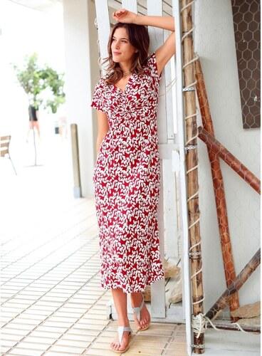 Blancheporte Dlouhé šaty s potiskem a krátkými rukávy potisk lístků ... e8c0a5799e