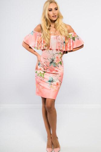 Amando Lososové mini šaty s odhalenými ramenami TA6120 - Glami.sk 31678a1b3f