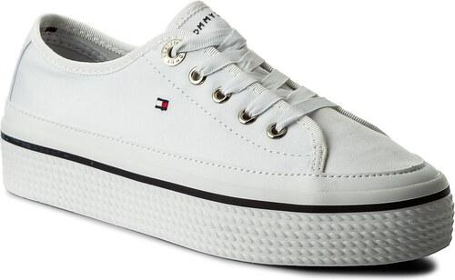 cdb8c3d592 Teniszcipő TOMMY HILFIGER - Corporate Flatform Sneaker FW0FW02456 White 100