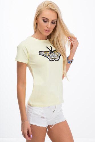 6e7f52ca910b Amando Citronové tričko s motýľom - Glami.sk