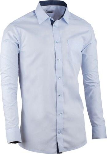 Modrá pánská košile slim fit kombinovaná Aramgad 30482 - Glami.cz 94aaedb927