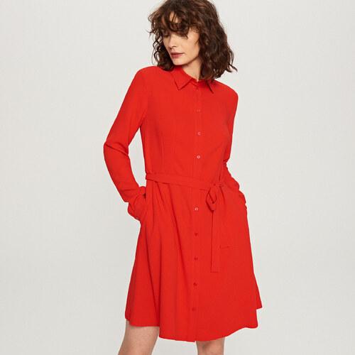 Reserved - Červené košilové šaty - Červená - Glami.cz 4c6dc3f9b9