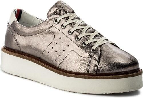 Sneakersy TOMMY HILFIGER - Metallic Hybrid Leather Sneaker FW0FW02501  Silver 000 82ef2b3d48b