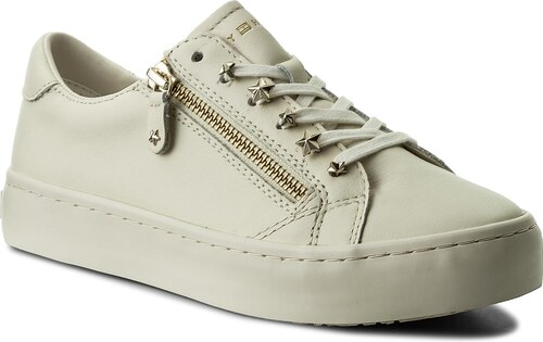 Sneakersy TOMMY HILFIGER - Star Jeweld Leather Sneaker FW0FW02674 Whisper  White 121 69f83cb17f