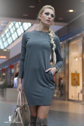 7523a6844aed Amando Šedé mini šaty s dlhým rukávom - Glami.sk