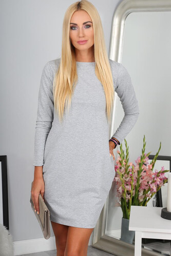 7d499cc504 Amando Sivé mini šaty s dlhým rukávom - Glami.sk