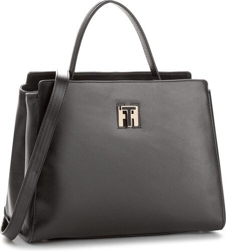 Táska TOMMY HILFIGER - Th Twist Leather Med Tote AW0AW05261 002 ... 7f3731a80a