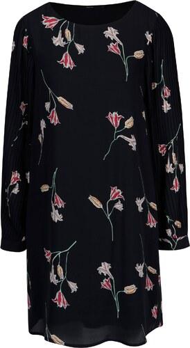 0267de319e Tmavomodré kvetované šaty s dlhým rukávom VERO MODA Elena - Glami.sk