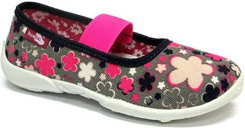 e694265ad3758 Ren But Dievčenské kvetované papučky s ružovou gumičkou - šedé ...