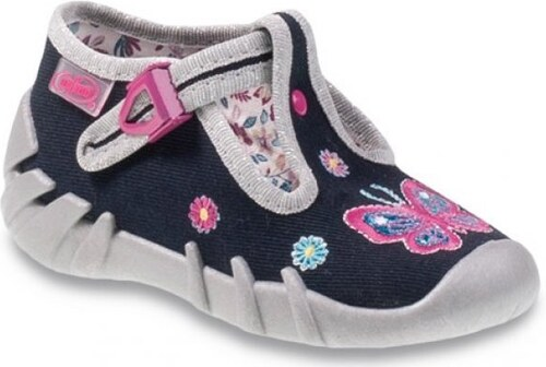 Befado Dievčenské papučky s motýlikom - šedo-modré - Glami.sk 6fe0c2eb18b
