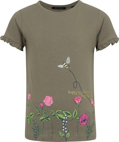 e2498443e53f Kaki dievčenské tričko s potlačou a volánmi na rukávoch Blue Seven ...