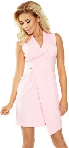3c9648048e8 numoco Dámské společenské šaty s límečkem a překříženou sukní růžové ...