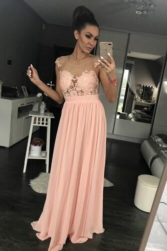 Dámské společenské plesové šaty vyšívané dlouhé EVA   LOLA růžové ... d65a107c8c