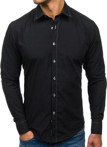 414636d6d9 Čierna pánska elegantná košeľa s dlhými rukávmi BOLF 4719 - Glami.sk