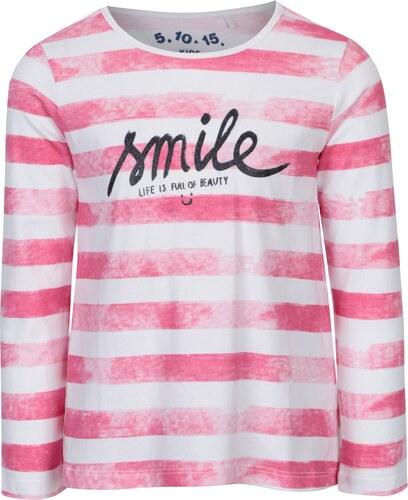 710293faedf9 Ružovo-biele dievčenské pruhované tričko s dlhým rukávom 5.10.15 ...