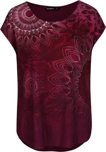 1c4fddf4d9f9 Vínové tričko s potiskem Desigual Grace - Glami.cz
