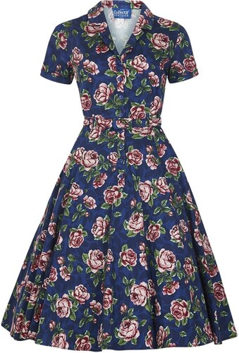 7b7ff775de9 COLLECTIF Dámské retro šaty Caterina modré s květinami - Glami.cz