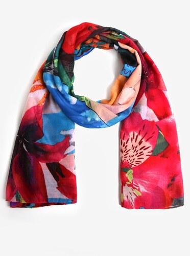 Růžovo-modrý šátek s květinami Desigual Crhystal - Glami.cz 34b61dd0f5