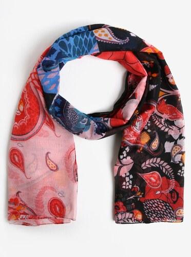 Modro-červený šátek s ornamenty Desigual California - Glami.cz 41c45141cc