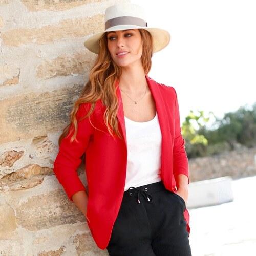 Blancheporte Úpletové jednofarebné sako červená 07eec82fd73