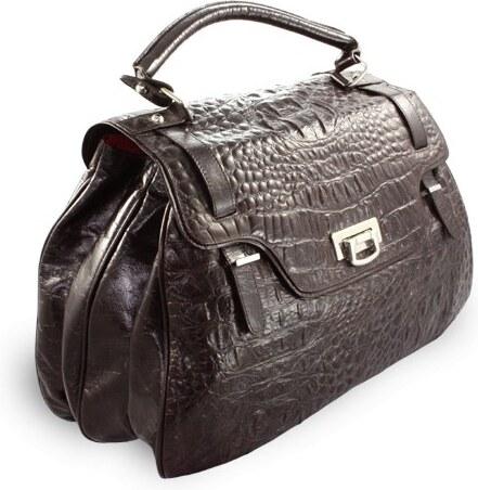 -10% Arwel Hnědá kožená dámská kabelka s motivem krokodýlí kůže Merenden 6d689e25eb6