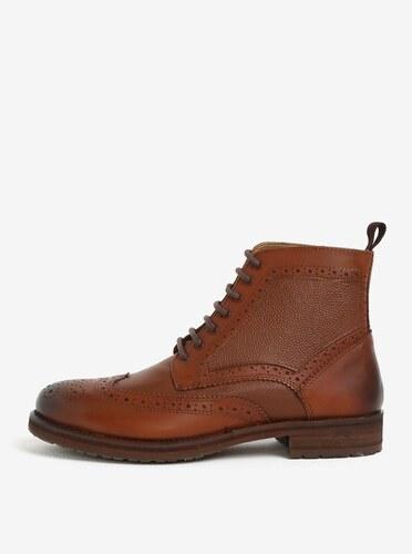 Hnědé pánské kožené brogue kotníkové boty Burton Menswear London ... 6dbf91a338