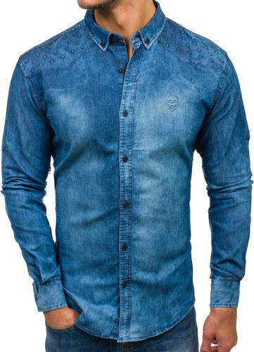 Modrá pánská džínová košile s dlouhým rukávem Bolf 0540 - Glami.cz eb64267e67