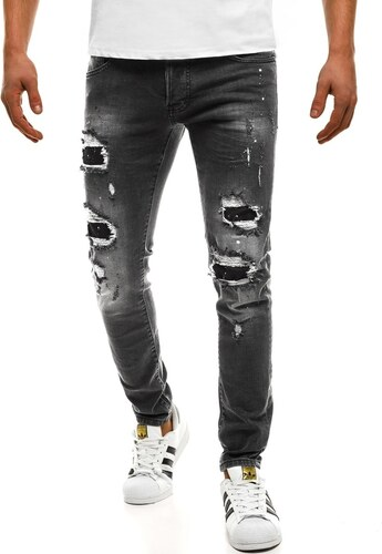 Černé pánské džíny se záplatami BREEZY 1729 - Glami.cz 58fdd6b692