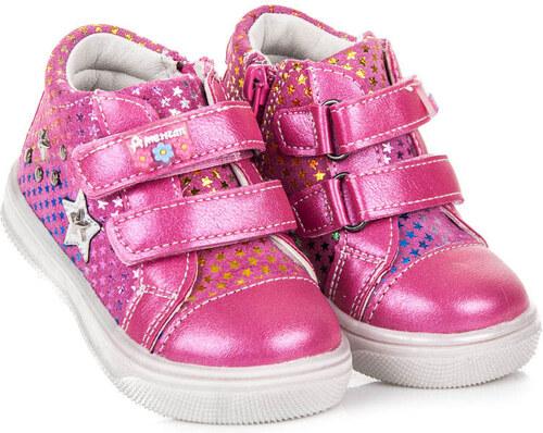 AMERICAN CLUB Nádherné růžové dětské kotníkové tenisky s hvězdami ... d2eccee16c2