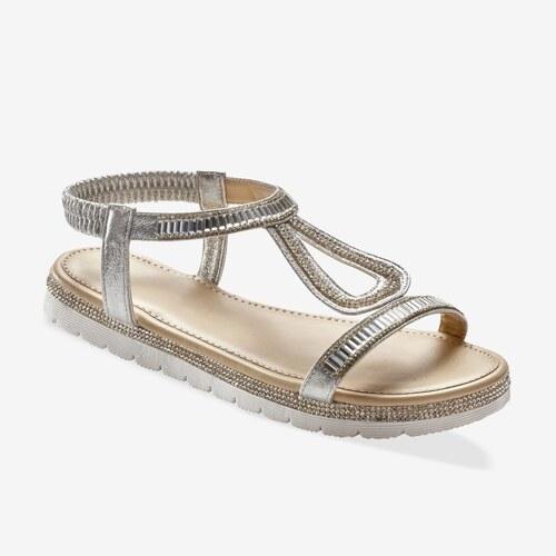 cc42a367b080 Vypredaj-zlavy.sk Trblietavé sandále so štrasovým zdobením strieborná
