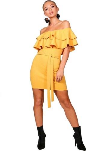 BOOHOO Pastelovo žlté šaty Fi s dvojitým bardot volánom - Glami.sk ef64d85eccb