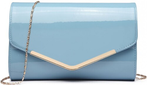 29e508fae42a7 Lulu Bags (Anglie) Dámska elegantná listová kabelka Miss Lulu svetlo modrý  lak