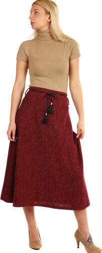 ddc78112870 TopMode Dlouhá dámská úpletová sukně (vínová