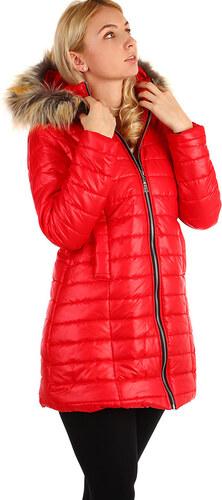 YooY Zimní prošívaný dlouhý kabát s kožíškem (červená db129b6be9