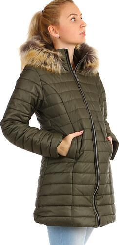 TopMode Zimní prošívaný dlouhý kabát s kožíškem (khaki 61f529cd32