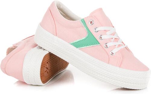 6f5cc9b0ee7c KYLIE Šnurovacie ružové tenisky na platforme - Glami.sk