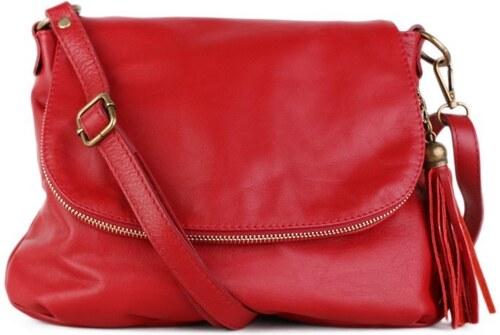 -12% TALIANSKE Talianska stredná kožené kabelky crossbody červené Angela 10a47820670