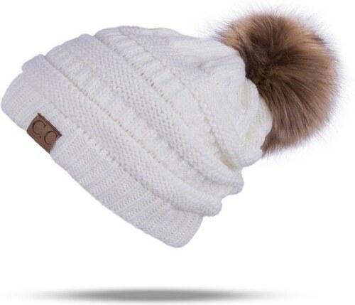 Cixi Dámská zimní čepice s bambulí Bílá - Glami.cz 8ce9ca5fd5
