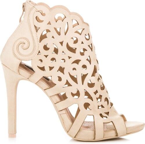 ad6ebe10d657 VICES Dámske béžové ažúrové sandále na zips 1398 14BE - Glami.sk