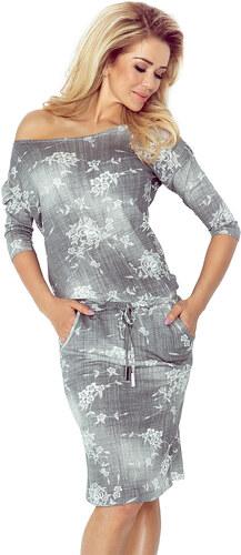 numoco Dámské sportovní šaty netopýří střih na zavazování s kapsami džínový  motiv šedé 7c7df12720
